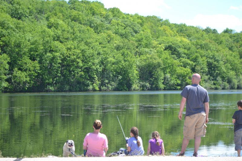 An image of a family fishing.