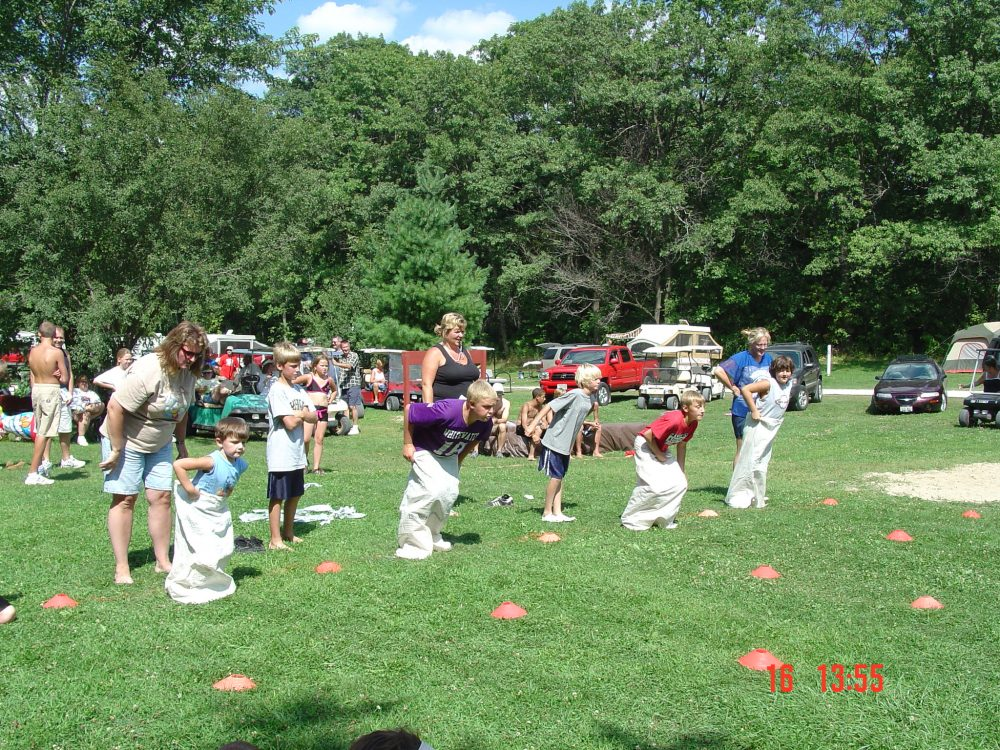 These are campers participating in sack races.