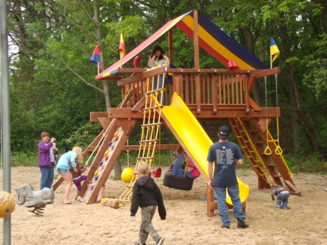These are campers playing on the playground.
