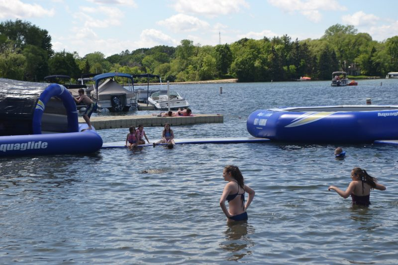 An image of kids swimming.