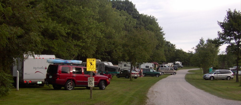These are campers lined up in the campground.